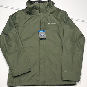 🆕 COLUMBIA Mens Green Waterproof Rain Jacket